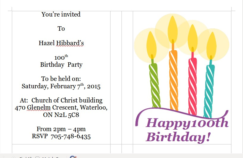 Gen hazel nee goatcher hibbard 100th birthday 41ml invitation via email stopboris